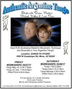 Study Argentine Tango with International Dance Masters: Michael Walker & Lori Ross @ DANCE FX STUDIO