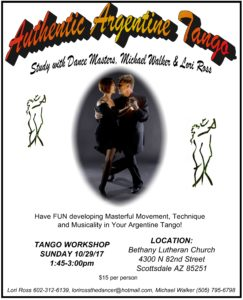 Study Argentine Tango with International Dance Masters: Michael Walker & Lori Ross @ Bethany Lutheran Church