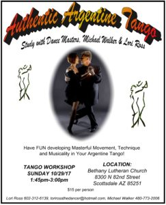 Study Authentic Argentine Tango with International Dance Masters: Michael Walker & Lori Ross @ Bethany Lutheran Church