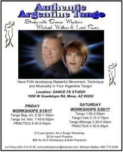 Study with Argentine Tango Dance Masters, Michael Walker & Lori Ross @ Dance FX studio