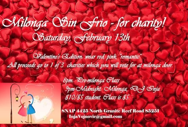 Milonga Sin Frio for charity - Valentine's Edition @ SNAP (Scottsdale Neighborhood Arts Place) | Scottsdale | Arizona | United States